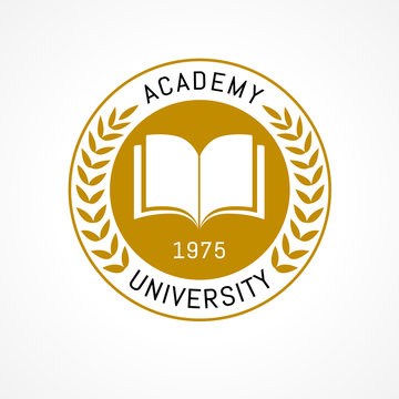 University education logo design with open book and laurel branch. University or college is golden wreath emblem template design. Vector illustration