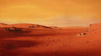 Foto op Aluminium Rood traf. landscape on planet Mars, scenic desert scene on the red planet