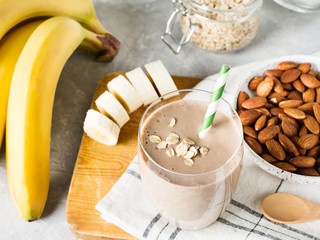 Healthy breakfast smoothie banana oatmeal almond milk