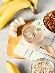 Healthy breakfast smoothie banana oatmeal almond milk