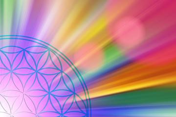Blume des Lebens in einem Lichtermeer aus Regenbogenfarben