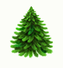 Christmas tree vector isolated on white background. Winter, xmas design element. Realistic vector icon of pine, coniferous tree, evergreen tree, spruce, fir, cedar. Christmas, New Year symbol. EPS10
