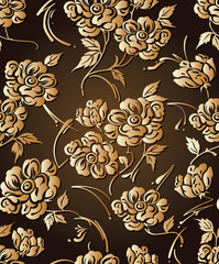Seamless golden designer floral wallpaper