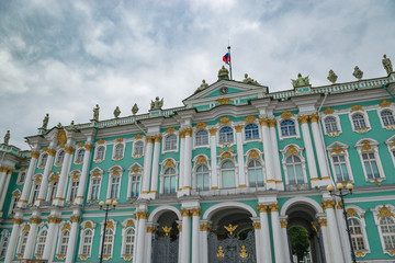 Part of  Winter Palace in Sankt Peterburg, Russia, overcast day.