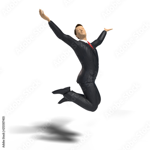 toy miniature businessman figurine is jumping for joy and happiness