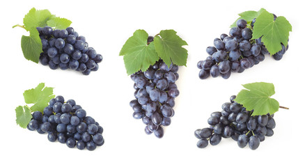 grapes set isolated on white