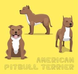 Dog American Pitbull Terrier Cartoon Vector Illustration