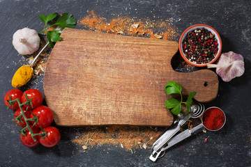 empty wooden board  with various products for cooking