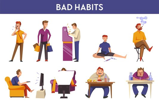 People bad habits and behavior vector icons