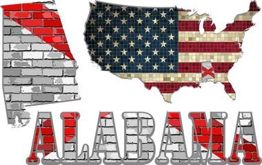 Alabama on a brick wall with USA map - Illustration, Alabama Flag painted on brick wall, Font with the Alabama flag,  Alabama map on a brick wall