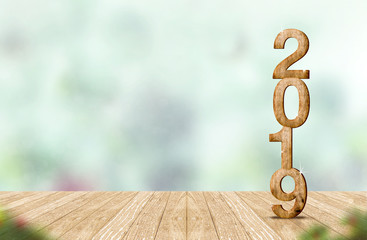 New year 2019 wood number (3d rendering) on wooden plank table at blur abstract green bokeh background,Mock up banner space for display or montage of product,holiday celebration greeting card.