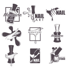 Manicure and nail spa vector sketch icons