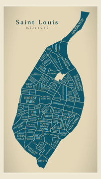 Modern City Map - Saint Louis Missouri city of the USA with neighborhoods and titles