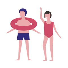 Boy with inflatable ring and girl in red swimsuit