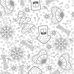 Gingerbread. Seamless Pattern. Coloring book for adults and children. New Year, Christmas design
