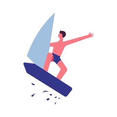 Guy in trunks jumps on sailboard with splashes