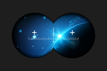 Creative vector illustration of binoculars view with signs isolated on transparent background. Art design. Virtual reality glasses sight. Abstract graphic element. Blur frame border. Rifle scope aim