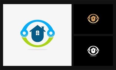 house icon circle connect logo