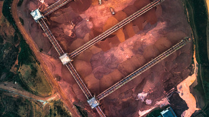Aerial view over monohydrallite mine field. Sand mine. View from above