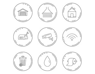 Wi-fi, video monitoring and real estate icons.