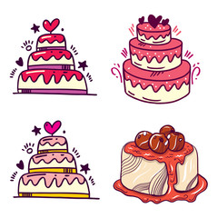 Delicious cakes with cream, chocolate and cherry. Cake set. Vector illustration.