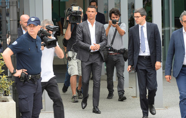 Cristiano Ronaldo arrives at the Juventus' medical center in Turin