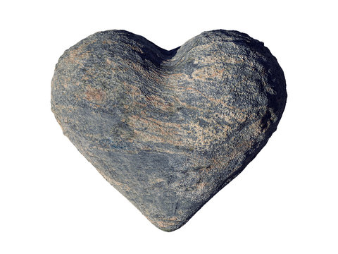 natural grey stone heart, romantic shaped rock, isolated on white background