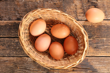 basket with raw egg