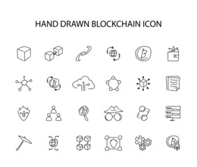 Hand drawn icon set. Blockchain pack. Vector illustration