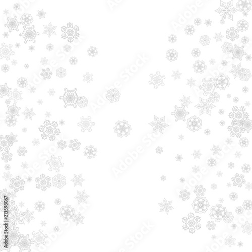 snowflakes falling on white background merry christmas and happy new year theme silver falling