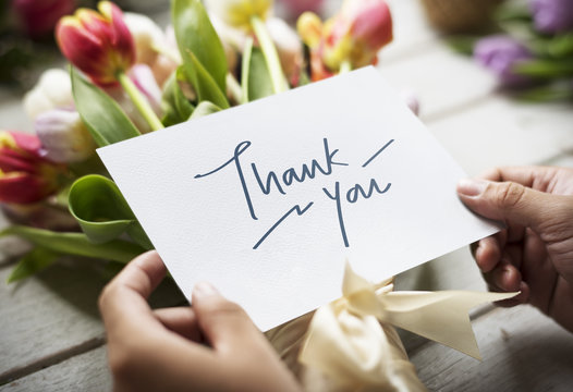 Thank You card with bouquet of flowers