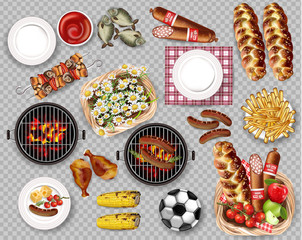 Food for Picnic bbq set collection isolated Vector. Meat, bread, fries, fish and plates