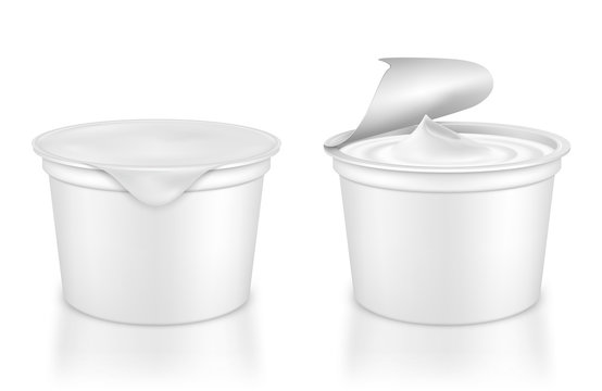 Vector realistic plastic packages with yogurt