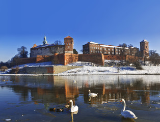 Wawel castle on the bank of the Vistula river in Krakow, Poland