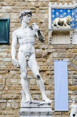 David by Michelangelo, marble statue, piazza della Signoria. Florence, May 2017