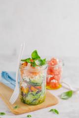 Fresh salad in jar ready to eat