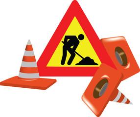 cartello stradale coni segnaletici di interruzione con lavoratore