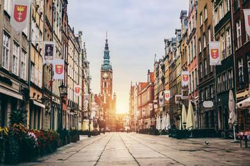 Obraz Stare Miasto w Gdańsku, Polska - ul. Długa - fototapety do salonu