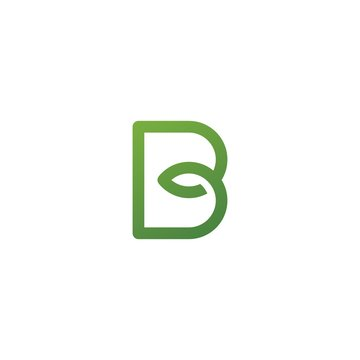 B letter leaf initial nature line art outline monoline logo vector icon