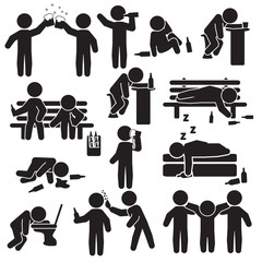 Alcoholism, party and people drinking icon set. Vector.