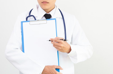 Health care, medical examinations, viral disease, in disease, writing reports of illness in patients on white background