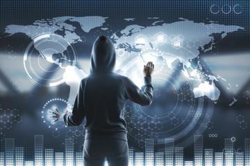 hacker and blockchain screen