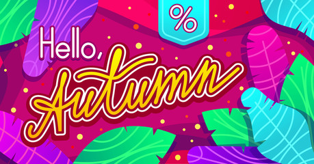 Hello, Autumn vector trendy design for website and print. Colorful banner with lettering and leaves over abstract purple background. Template for season sales, advertising and flyers.