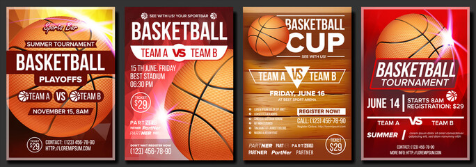 Basketball Poster Set Vector. Design For Sports Bar Promotion. Basketball Ball. Tournament. Sport Event Announcement. Banner Advertising. Game Flyer, Leaflet Template Illustration