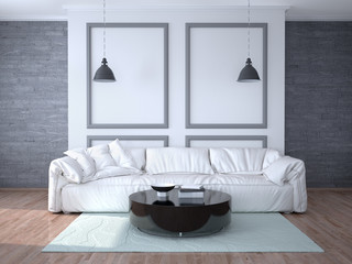 Interior design of the room with a white sofa. 3d illustration