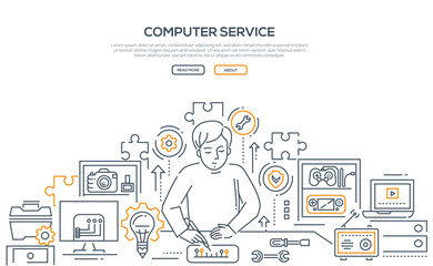 Computer service - line design style illustration