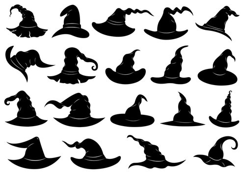 Illustration of different witch hats isolated on white