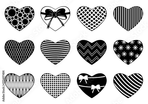 Set Of Different Hearts Isolated On White Stock Image And Royalty