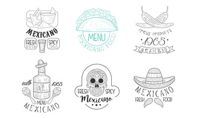 Vectoe set of sketch emblems for Mexican restaurant. Hand drawn logos with traditional food and drink, skull and sombrero hat with mustache