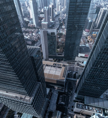 Aerial View of business area and cityscape in Jingan district, Shanghai